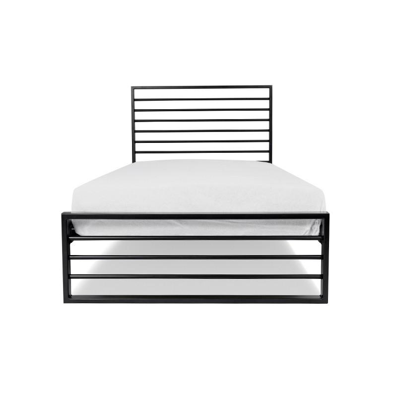 NATAN Łóżko metalowe nowoczesne czarne 90x200 cm