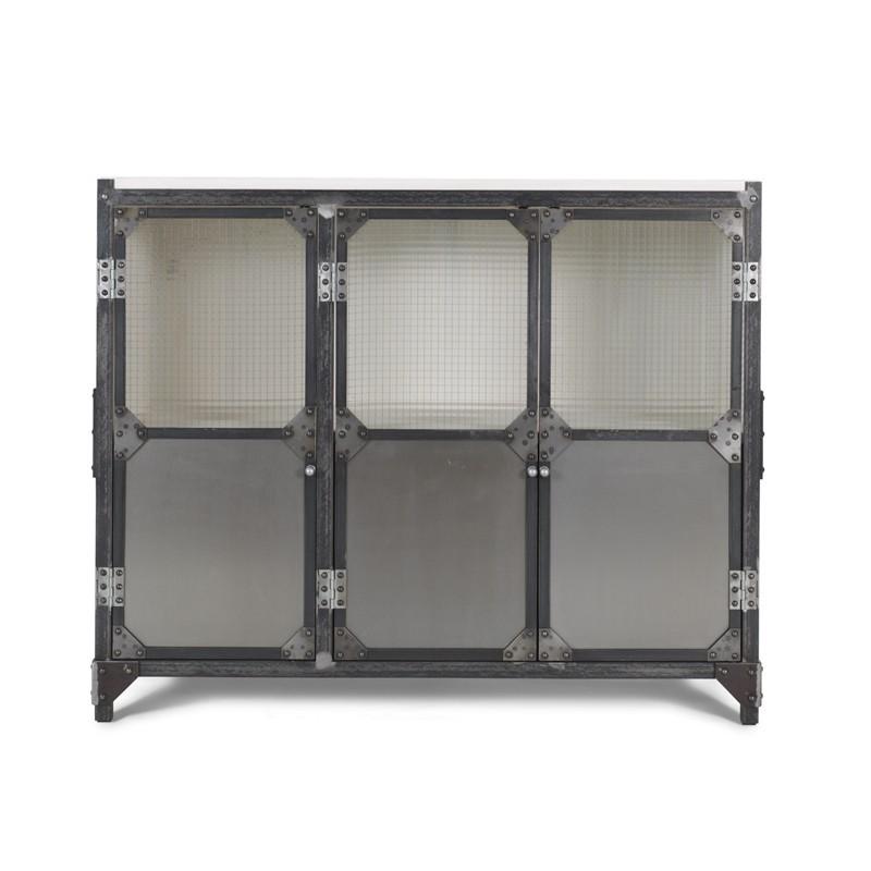 BROOKLYN RAW 3-drzwi komoda industrialna z szybami