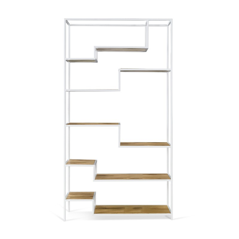 ASPER Regał metalowy z drewniamymi dębowymi półkami asymetryczny układ nierówne półki design loft skandi