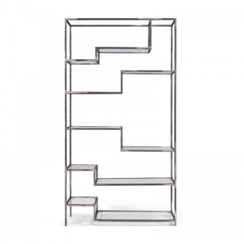 ASPER Regał metalowy z wieloma szklanymi półkami o asymetrycznym układzie surowa stal loft