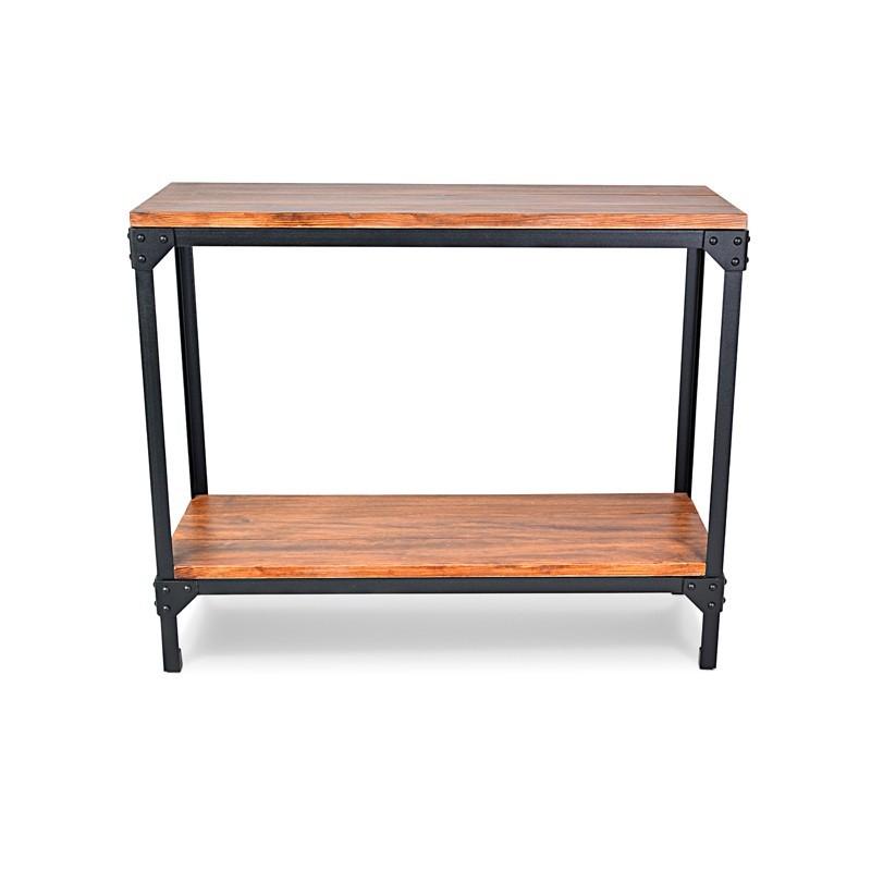 IRMA Konsola wąski stolik czarny metal i podwójny blat drewniany w kolorze orzecha