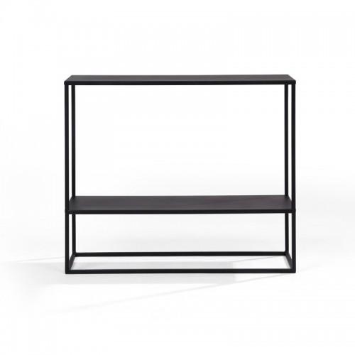 SIMPLEX MA Konsolka z półką do przedpokoju minimalistyczna metalowa czarna