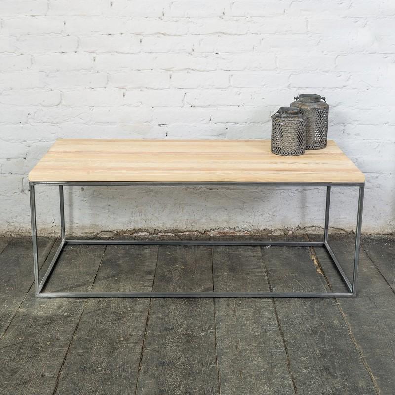 PINUS RAW 120 cm ława prostokątna do loftu naturalne drewno i surowa metalowa rama