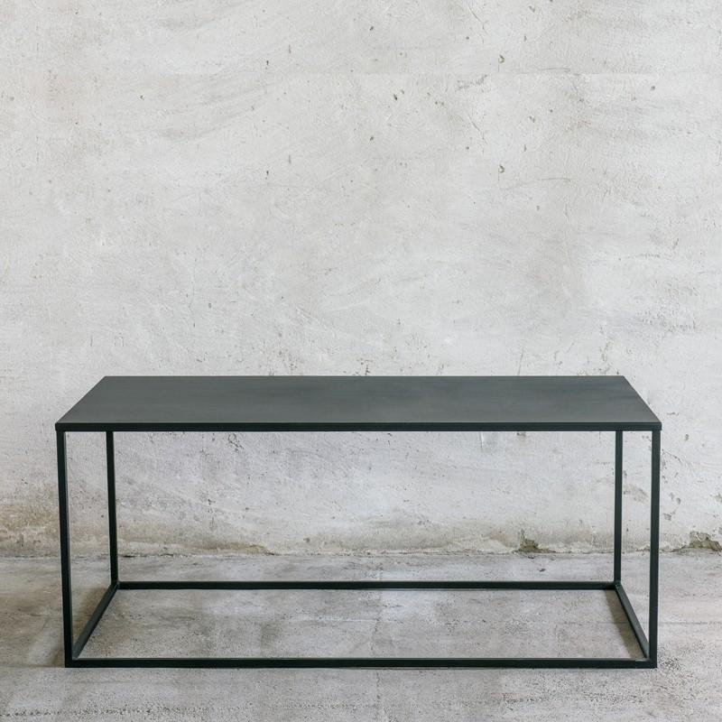 SIMPLEX Stolik kawowy z metalu czarny styl industrialny 110 cm