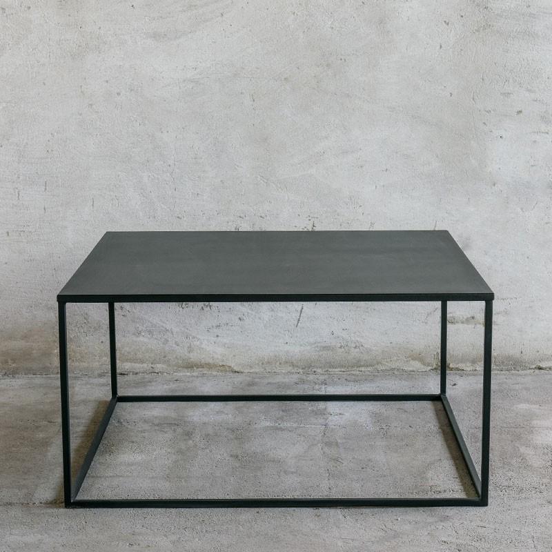 SIMPLEX Stolik kawowy kwadratowy 90x90 cm metalowy czarny styl industrialny