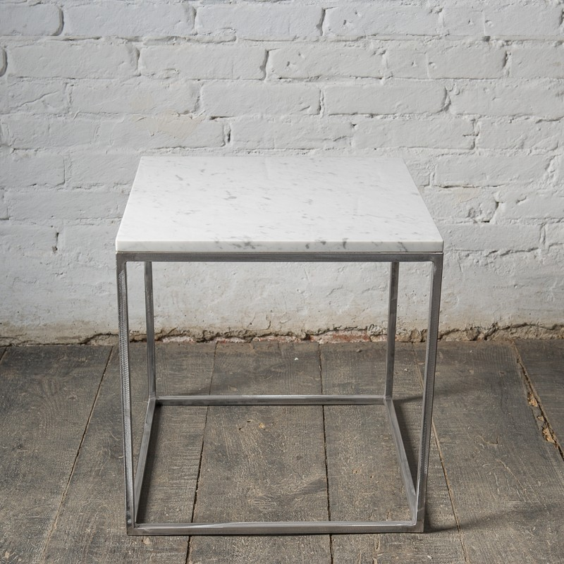 LAPIS Stolik kawowy z metalu z blatem z białego marmuru Bianco Carrara 50x50 cm