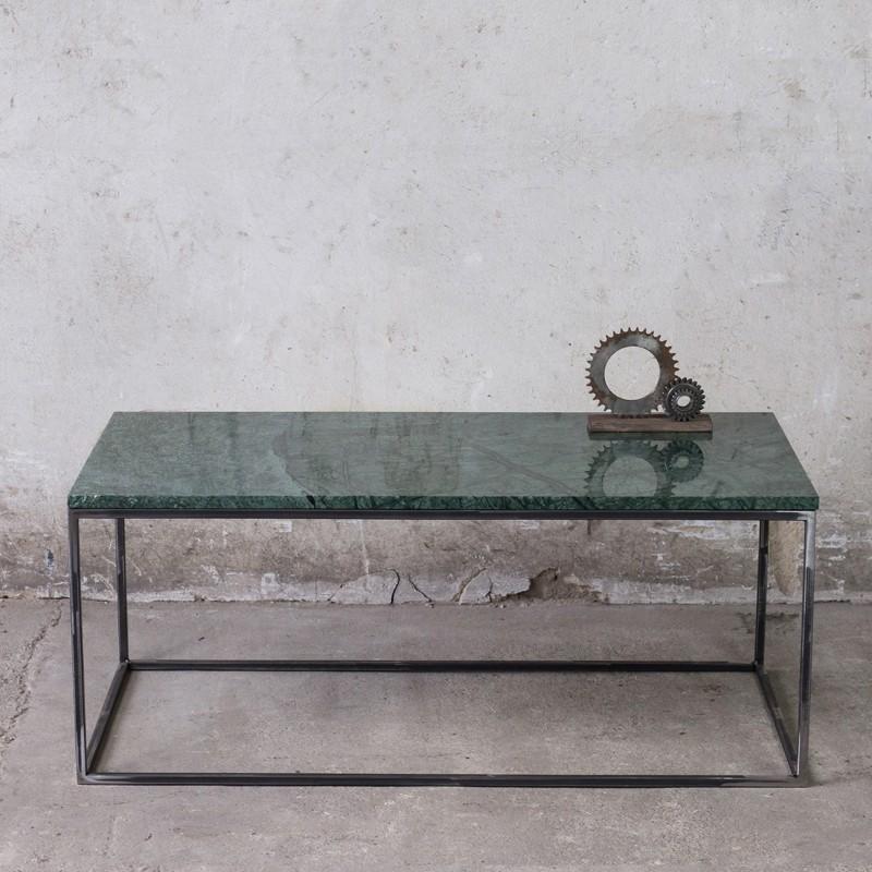 LAPIS Stolik kawowy 110 cm z blatem z zielonego marmuru Verde Gwatemala prostokątny elegancki metalowy