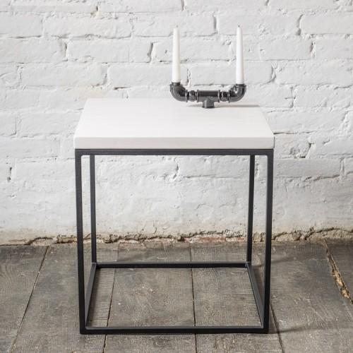 PINUS Stolik kawowy z metalu z białym blatem drewnianym 50 cm styl skandynawski