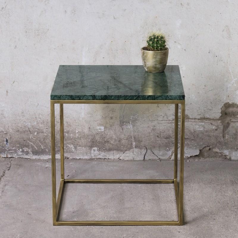 LAPIS Stolik kawowy 50cm z blatem marmurowym zielonym Verde Gwatemala złote metalowe nogi
