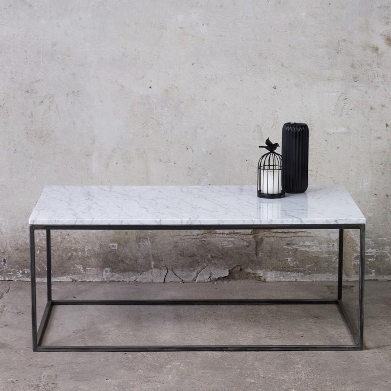 LAPIS Stolik kawowy 110x60 cm metalowa konstrukcja z marmurowym białym blatem