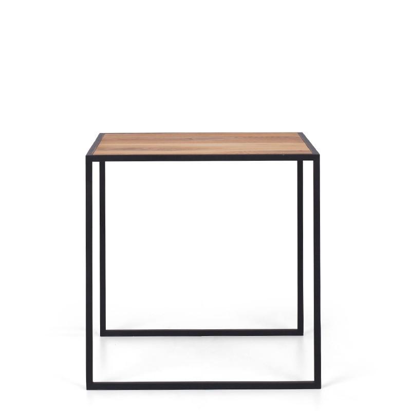 ENVIS Stolik kawowy metalowy z dębowym blatem kwadratowe nogi styl skandynawski