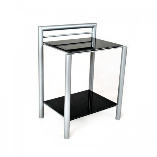 LOMAX Stolik nocny nowoczesny minimalistyczny szkło i metal