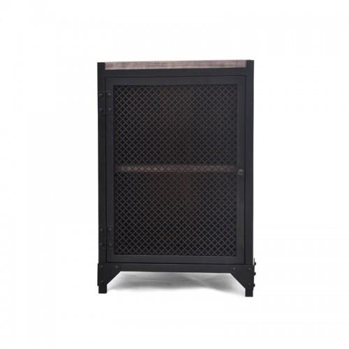 PERFOR L. Stolik nocny metalowy z drzwiami z siatki drewnianym blatem i dwiema półkami