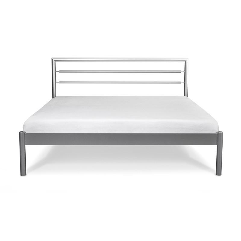 WERSO Łóżko metalowe srebrne 140x200 cm