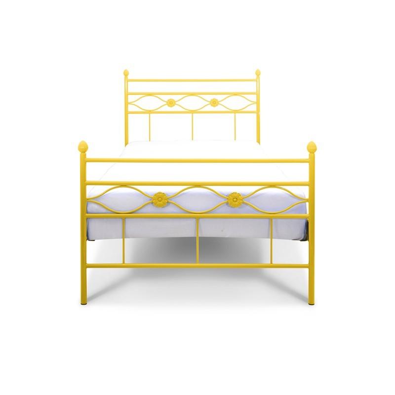 FLORIS Łóżko metalowe dla dziewczynki żółte 90x200 cm