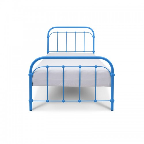 BABUNIA Łóżko metalowe retro niebieskie 90x200 cm