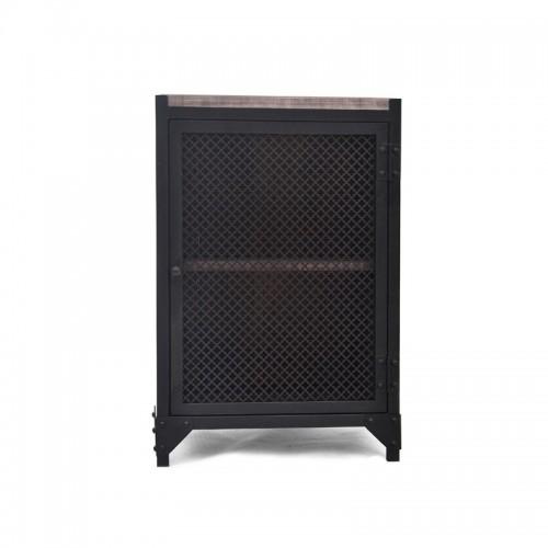 PERFOR R. Stolik nocny czarny metalowy z drzwiami z siatki drewnianym blatem i dwiema półkami