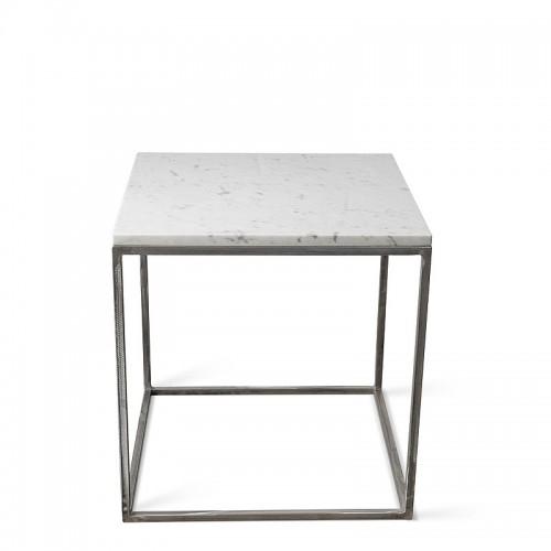 LAPIS Stolik kawowy z metalu z blatem z białego marmuru 50x50 cm