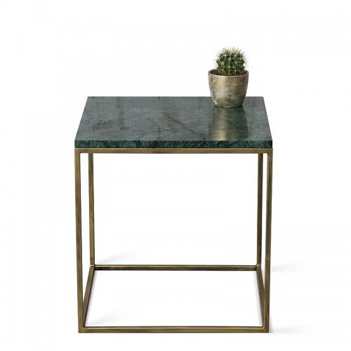 LAPIS Stolik kawowy 50cm z metalu i marmuru zielonego