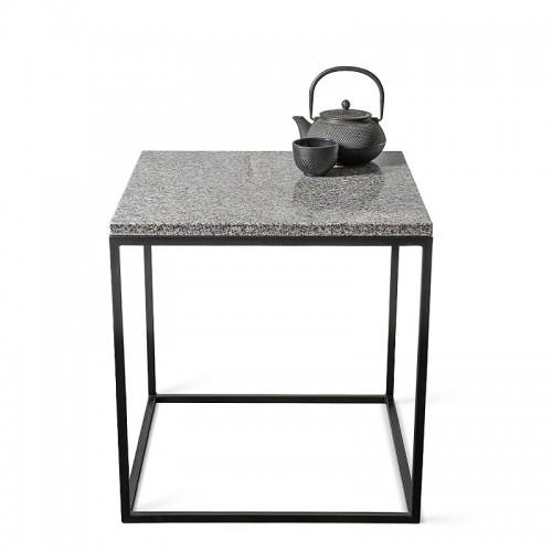 KORN Stolik kawowy kwadratowy z metalu i granitu 50 cm