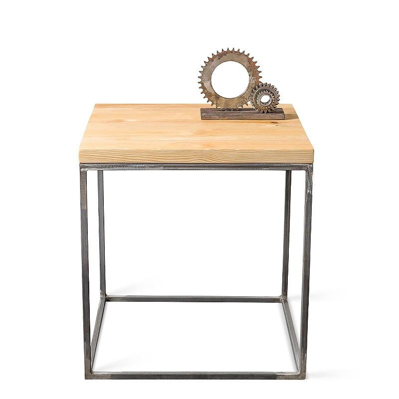 PINUS RAW 50 cm Stolik kawowy kwadratowy surowy metal drewno szczotkowane