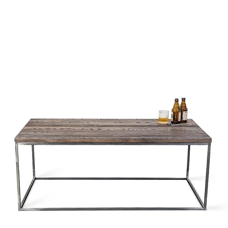 PINUS RAW 120 cm ława prostokątna surowy metal drewno sosnowe szczotkowane