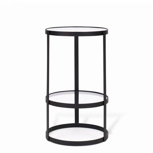 LUNA Pomocnik stolik pomocniczy do kanapy w stylu skandynawskim szklany metalowy z półką czarny