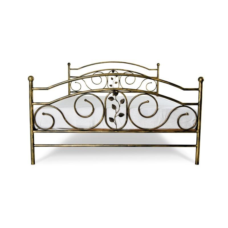 Roza łóżko Z Kutym Motywem Roślinnym 140 Cm Francke Art